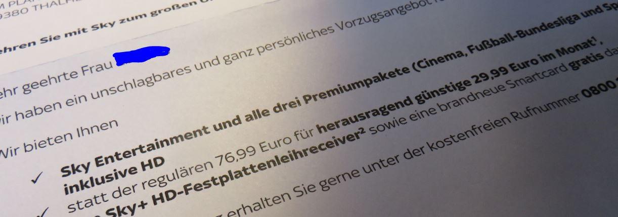 Sky Angebot 29,99 Euro